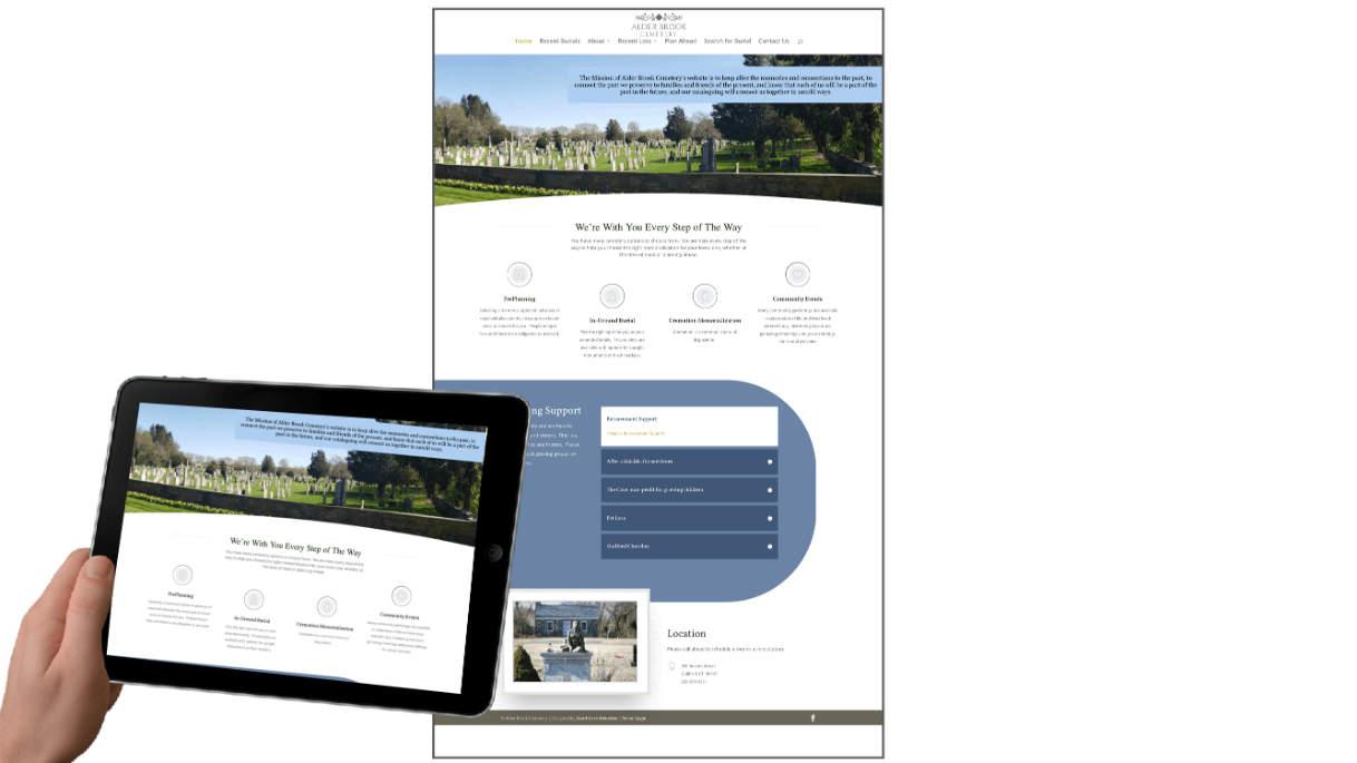 Alder Brook website Death Care Websites client